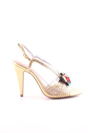 Zara Riemchenpumps goldfarben Elegant