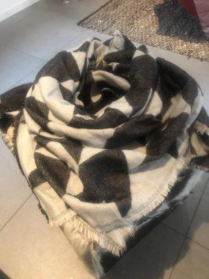 Zara Bufanda de flecos negro-blanco puro