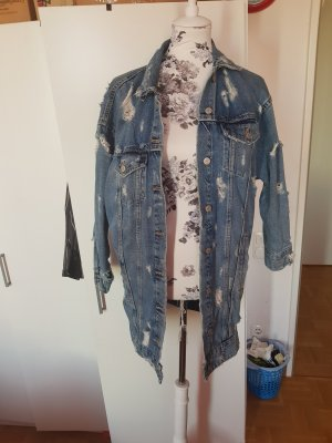 Zara Veste en jean blanc-bleu