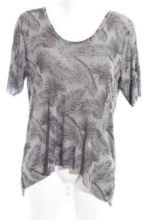 Zara Rippshirt grau-schwarz florales Muster Casual-Look