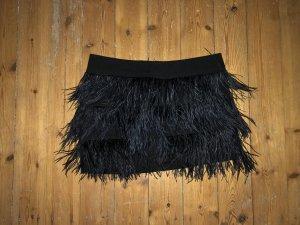 ZARA Rock Federn Gatsby Mini Skirt Schwarz Top