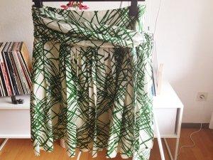ZARA Rock knielang Sommer grün weiß SEIDE L 42 40 creme Baumwolle Frühling