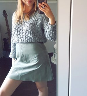 Zara Basic Falda de talle alto verde grisáceo-caqui