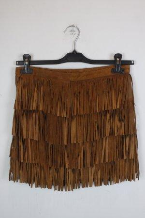 Zara Leather Skirt cognac-coloured leather