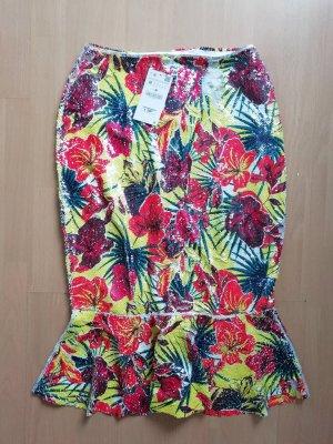 Zara Rock Midi Peplum Volant Pailletten Sequin M floral tropical