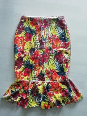 Zara Rock Pailletten Volants Peplum Sequin Highwaist Tropical Midi