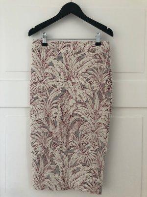 Zara Rock Skirt Floral Blumenmuster Midirock Midi Bleistiftrock Schlauchrock Rot Creme Palmen