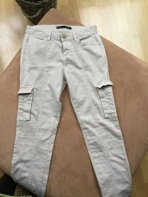 Zara Drainpipe Trousers light grey-natural white