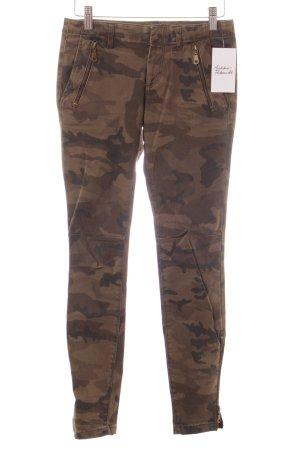 Zara Röhrenhose olivgrün Camouflagemuster Military-Look