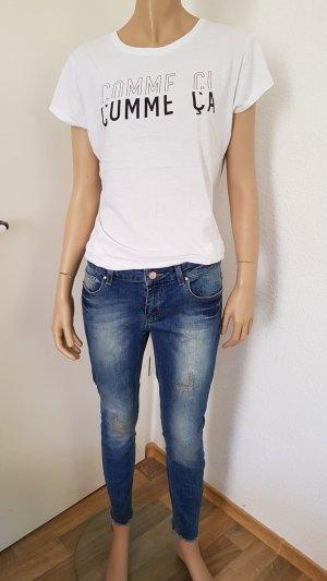 Zara Pantalon cigarette bleu