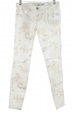 Zara Tube Jeans pale green floral pattern casual look