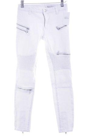 Zara Röhrenjeans weiß-silberfarben Casual-Look