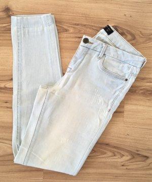 Zara Jeans cigarette bleu pâle-bleu clair coton