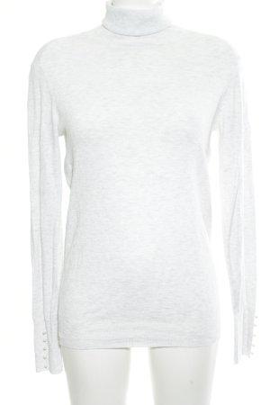 Zara Maglione dolcevita bianco-grigio chiaro puntinato stile professionale