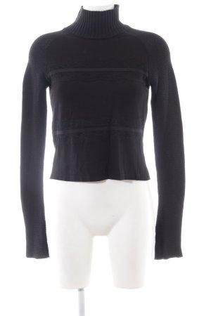 Zara Rollkragenpullover schwarz Zopfmuster Casual-Look