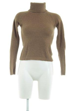 Zara Rollkragenpullover beige-dunkelbraun Casual-Look