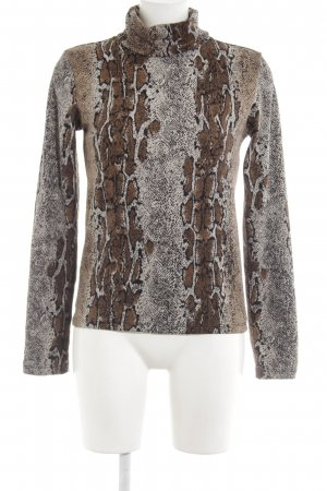 Zara Turtleneck Sweater light brown-natural white animal pattern casual look