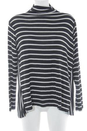 Zara Rollkragenpullover schwarz-weiß Ringelmuster Casual-Look