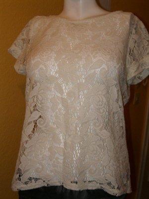 Zara Camisa tipo túnica crema Algodón