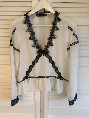 Zara Top di merletto bianco-nero