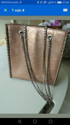 Zara Rose altrosa Metallic Handtasche Neu Gliederketten Henkel