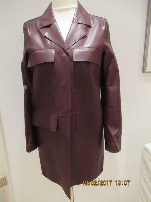 Zara Manteau court rouge carmin faux cuir