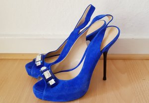 zara Royal blaue festliche peep-toe Pumps stiletto pointy suede velour Weihnachten Silvester Sylvester