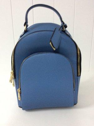 Zara Rucksack blau mit goldenen Reißverschlüssen