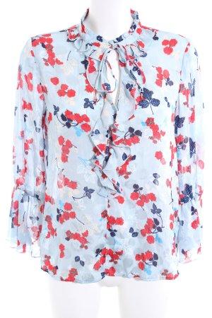 Zara Ruffled Blouse flower pattern casual look