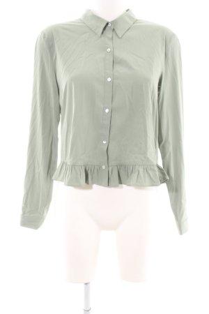 Zara Ruche blouse khaki zakelijke stijl