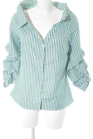 Zara Rüschen-Bluse waldgrün-weiß Streifenmuster klassischer Stil