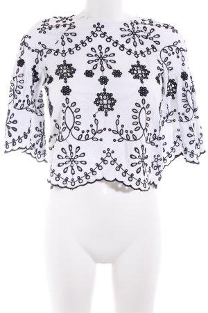 Zara Top à volants noir-blanc motif abstrait style Boho