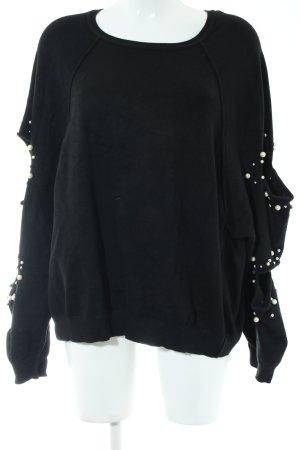 Zara Kraagloze sweater zwart casual uitstraling