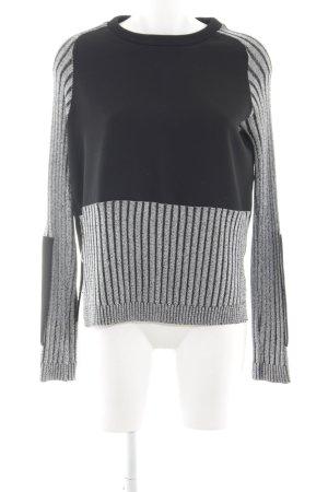Zara Maglione girocollo nero-grigio chiaro motivo a righe stile atletico
