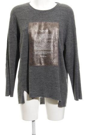 Zara Jersey de cuello redondo gris oscuro-color bronce look casual