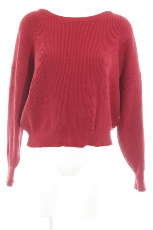 Zara Crewneck Sweater dark red-natural white weave pattern casual look