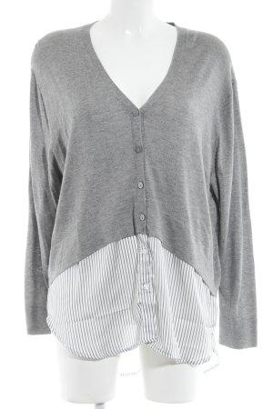 Zara Rundhalspullover grau-weiß Streifenmuster Business-Look