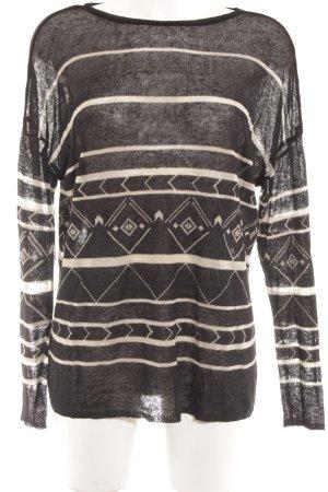 Zara Rundhalspullover schwarz-creme abstraktes Muster Casual-Look
