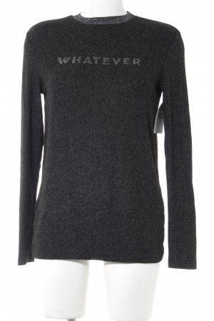 Zara Rundhalspullover schwarz-silberfarben Schriftzug gedruckt Casual-Look