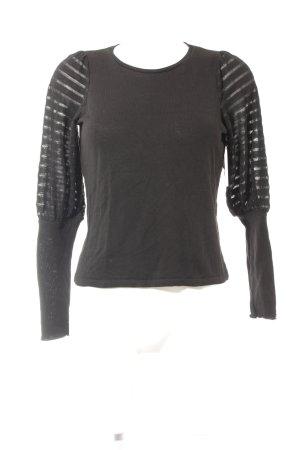 Zara Rundhalspullover schwarz Streifenmuster Casual-Look