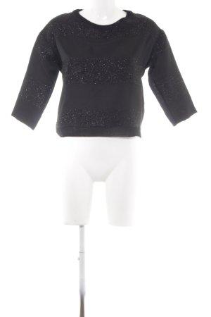 Zara Rundhalspullover schwarz Streifenmuster Elegant