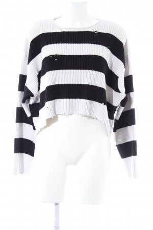 Zara Pull ras du cou noir-blanc cassé motif rayé style seconde main