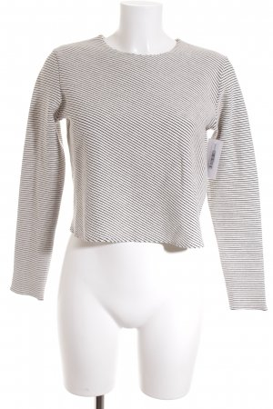 Zara Rundhalspullover weiß-schwarz Streifenmuster Casual-Look