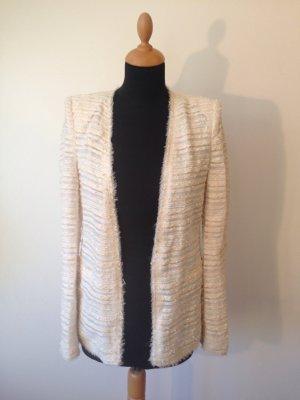 Zara s Balmain-Schulter Blazer Jacke Sommer Business Büro lang ohne Knöpfe edel