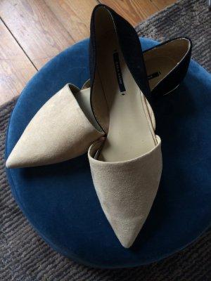 Zara Basic Sabot noir-blanc cassé faux cuir