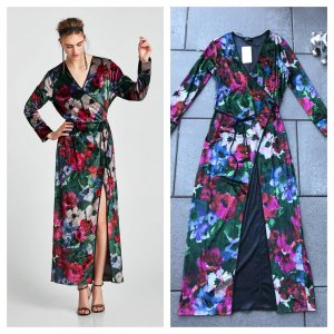 Zara Samt Kimonokleid M 38 neu Blumen Maxikleid Kimono