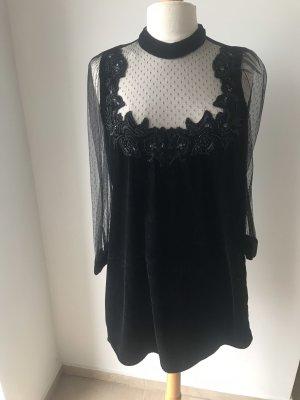 Zara Samt Kleid Gr M Schwarze Spitze Perlen Kleid