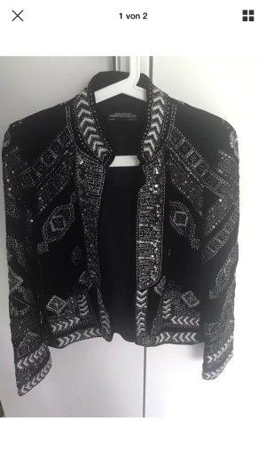 Zara Samt Pailletten Jacke Blazer Premium