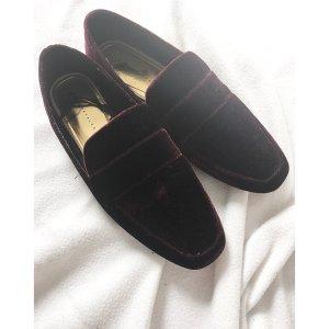 Zara Samt Pantoletten Slipper Rot 40/41 Bloggger Trend Schuhe NEU Bordeaux Winter