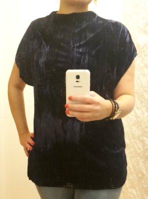 ZARA Samt Shirt Velvet Crash Samt Dunkelblau